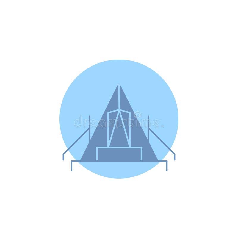 tält som campar, läger, campingplats, utomhus- skårasymbol royaltyfri illustrationer