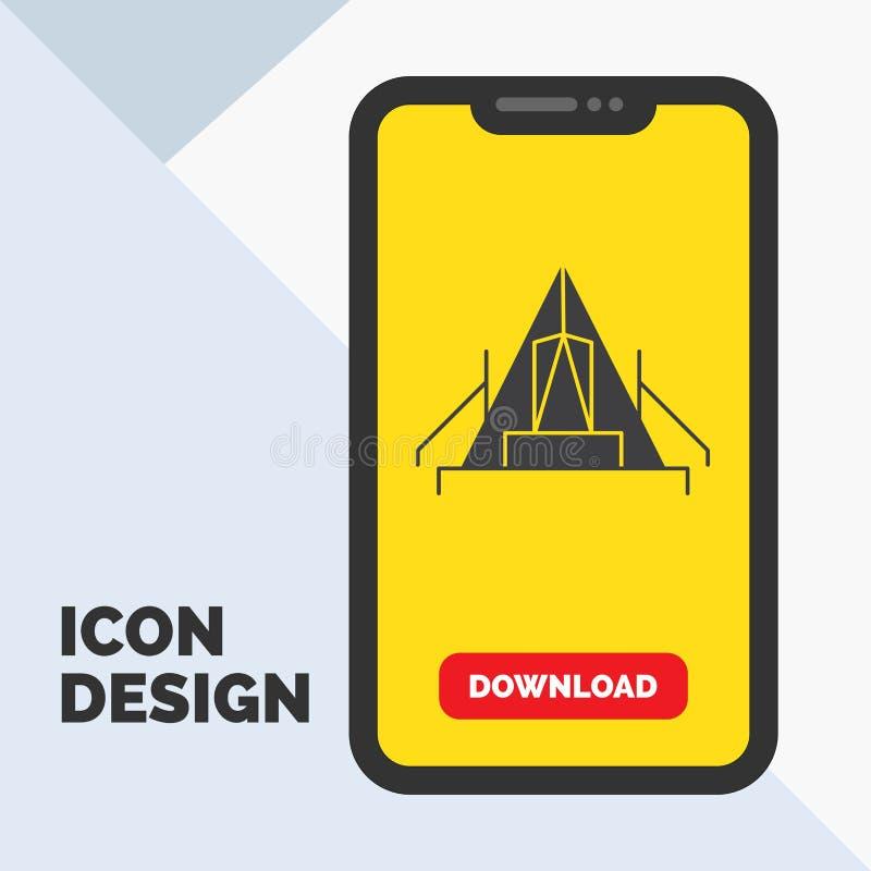 tält som campar, läger, campingplats, utomhus- skårasymbol i mobilen för nedladdningsida Gul bakgrund vektor illustrationer