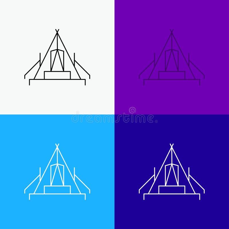 tält som campar, läger, campingplats, utomhus- symbol över olik bakgrund Linje stildesign som planl?ggs f?r reng?ringsduk och app stock illustrationer