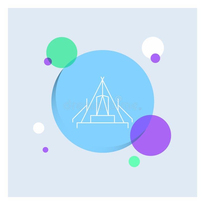tält som campar, läger, campingplats, utomhus- vit linje färgrik cirkelbakgrund för symbol stock illustrationer