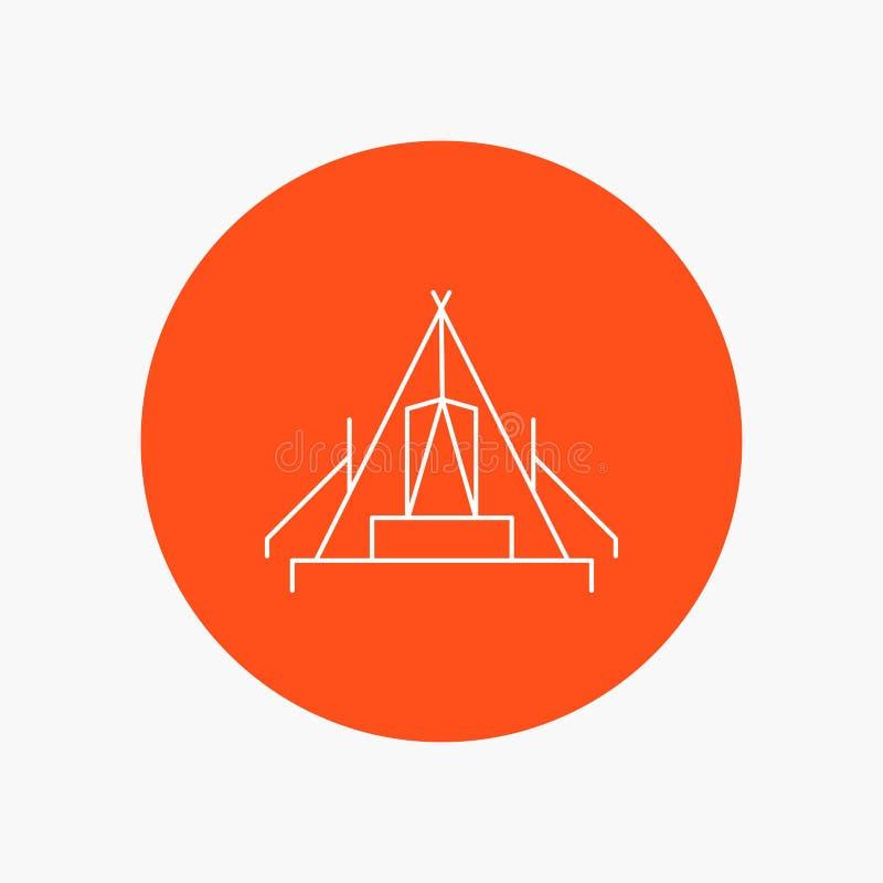 tält som campar, läger, campingplats, utomhus- vit linje symbol i cirkelbakgrund Vektorsymbolsillustration royaltyfri illustrationer