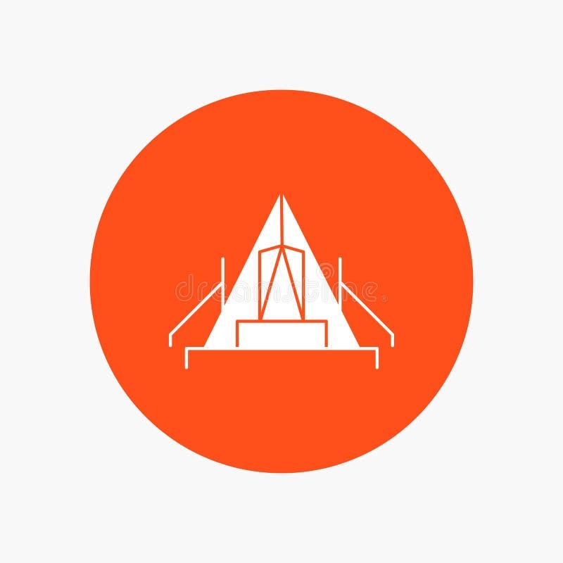 tält som campar, läger, campingplats, utomhus- vit skårasymbol i cirkel Vektorknappillustration stock illustrationer