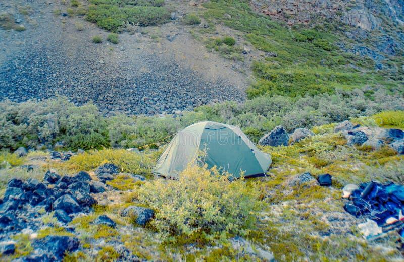 Tältet kastade in Wrangell-Sten Elias Park arkivbild
