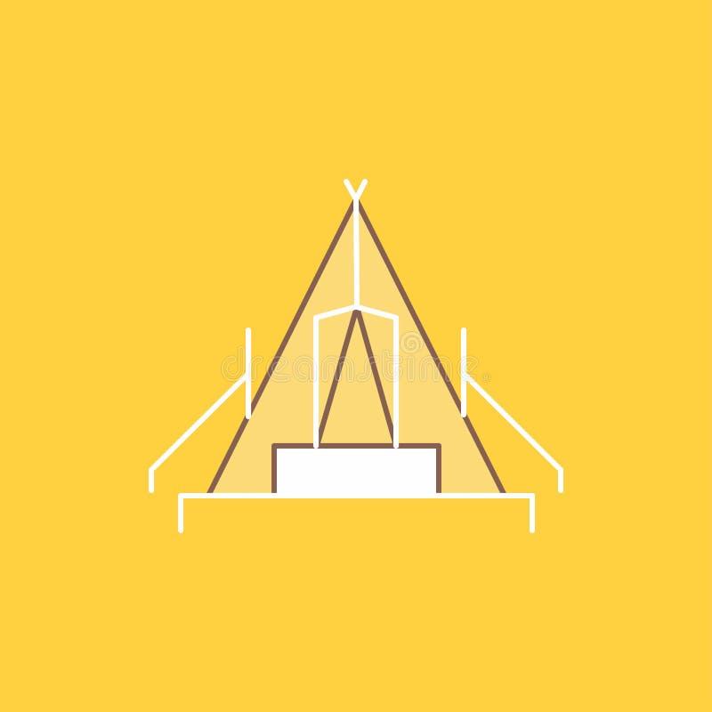 tältet som campar, lägret, campingplats, den utomhus- plana linjen, fyllde symbolen H?rlig logoknapp ?ver gul bakgrund f?r UI och vektor illustrationer