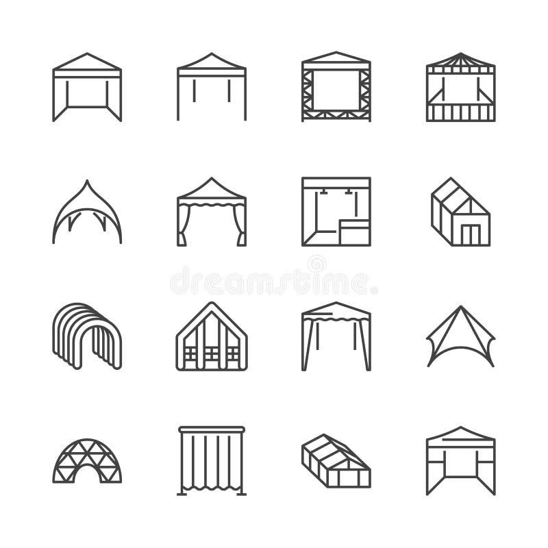 Tältlägenhetlinje symboler Händelsepaviljong, markis för handelshow, utomhus- bröllopstort festtält, markisvektorillustrationer t stock illustrationer