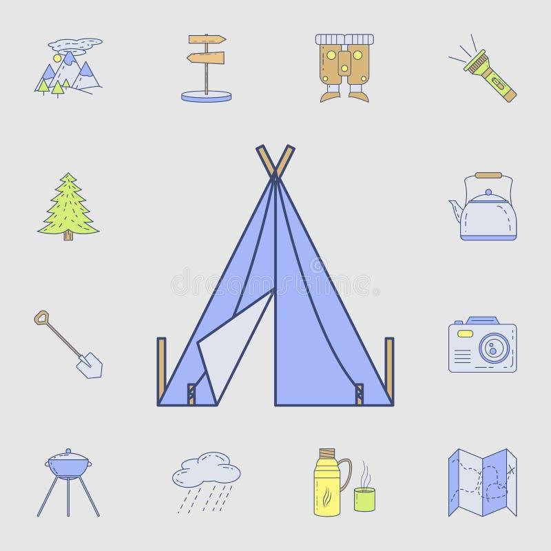 Tältsymbol Detaljerad uppsättning av campa hjälpmedelsymboler för färg Högvärdig grafisk design En av samlingssymbolerna för webs royaltyfri illustrationer