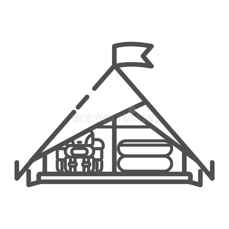 Tältsymbol, linje konstvektorillustration som isoleras på vit bakgrund Skyddet för vilar på skogen, medan att campa som trekking vektor illustrationer