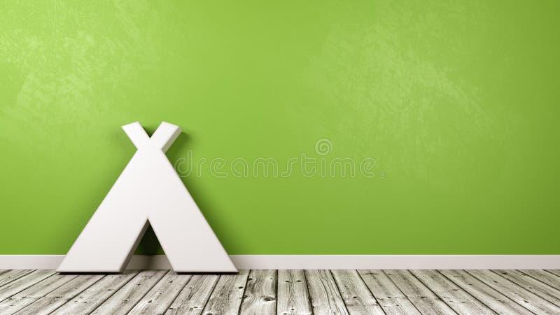 Tältsymbol på trägolv mot väggen stock illustrationer