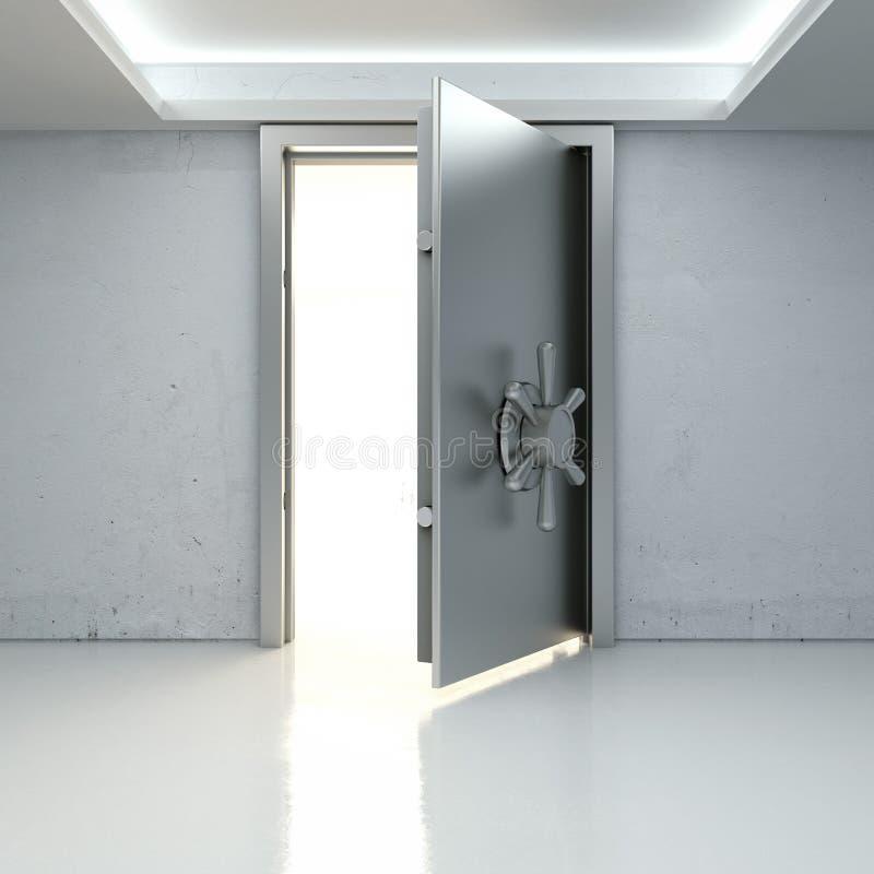 Tänd till och med en halvöppen dörr av bankkassaskåpet stock illustrationer