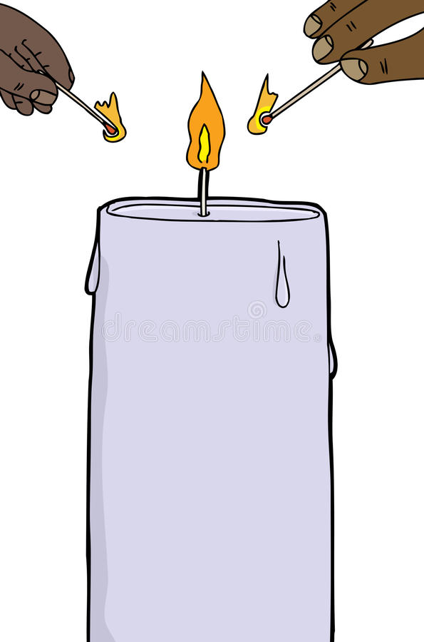 Tända en stearinljus stock illustrationer