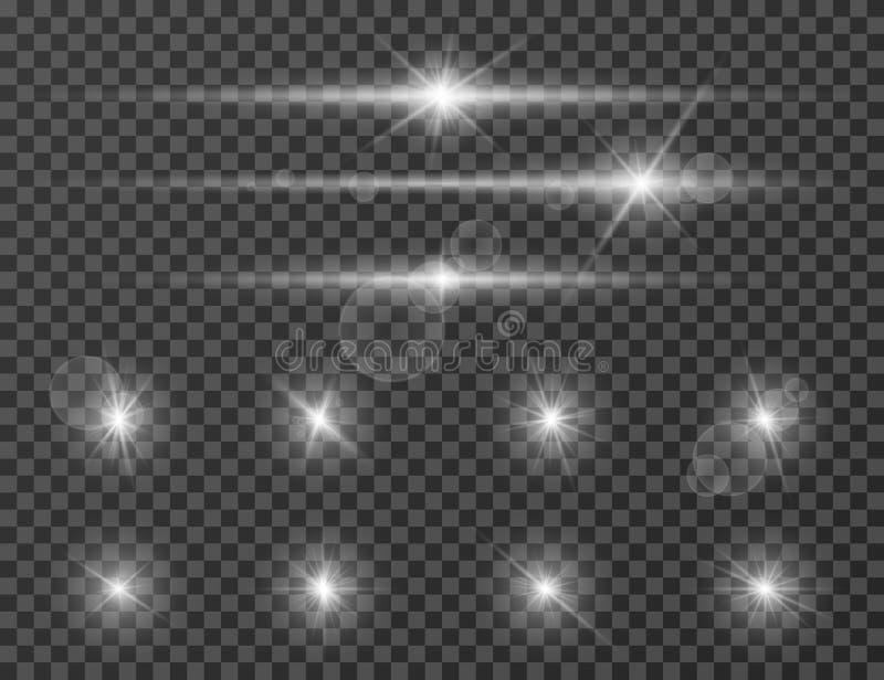 Tända signalljuset Glödande ficklampaeffekt för optisk lins Glimma kameraexponering Realistiskt mousserar vektoruppsättningen stock illustrationer