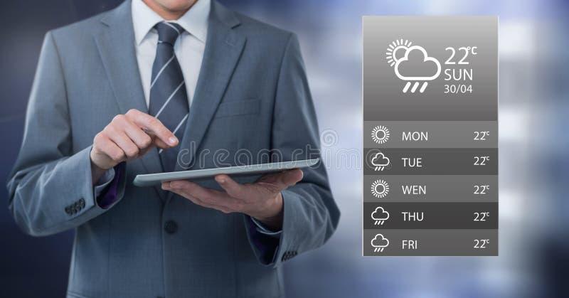 Tänder den hållande minnestavlan för affärsmannen med apps med grå färger bakgrund stock illustrationer