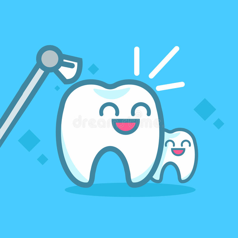 Tänder för tandläkekonstbanerlokalvård Gulliga kawaiitecken stock illustrationer