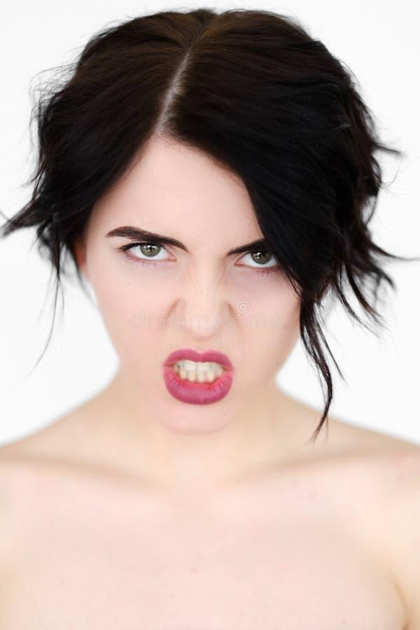 Tänder för ursinne för kvinna för sinnesrörelseframsida rasande ilskna fotografering för bildbyråer