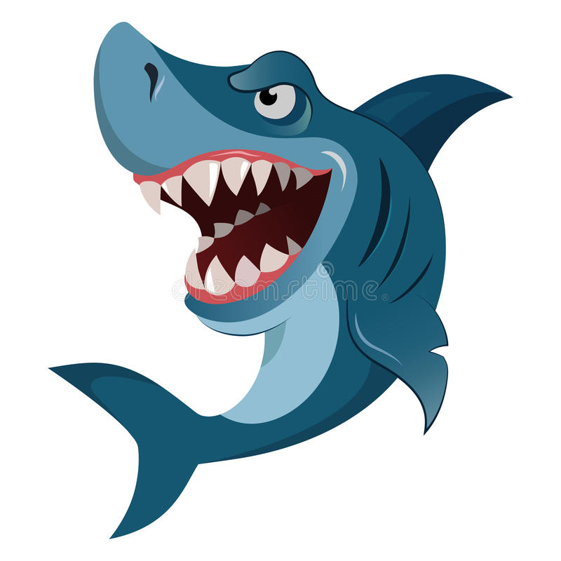 Tänder för wiith för vit haj för hungrig ilsken tecknad film stora stora också vektor för coreldrawillustration stock illustrationer