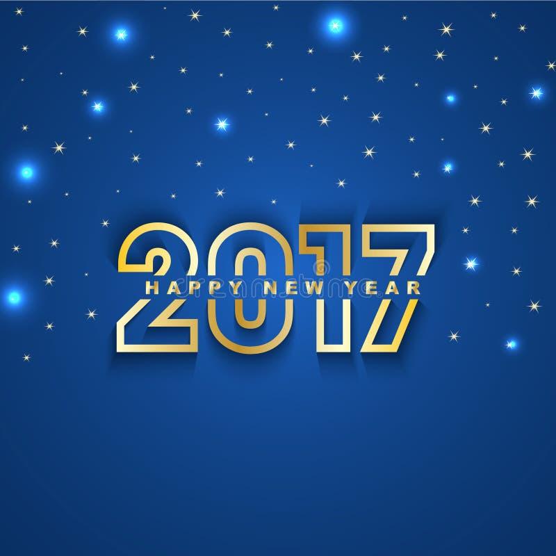 Tänder hälsningkortet för nytt år 2017 med stjärnor och fläcken på blått vektor illustrationer