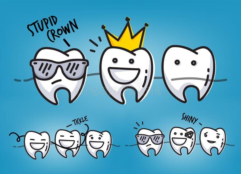 Tänder kyler tecknad filmblått royaltyfri illustrationer