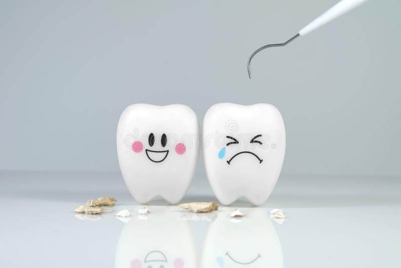 Tänder ler och gråta sinnesrörelse med hjälpmedlet för tand- platta, royaltyfria bilder