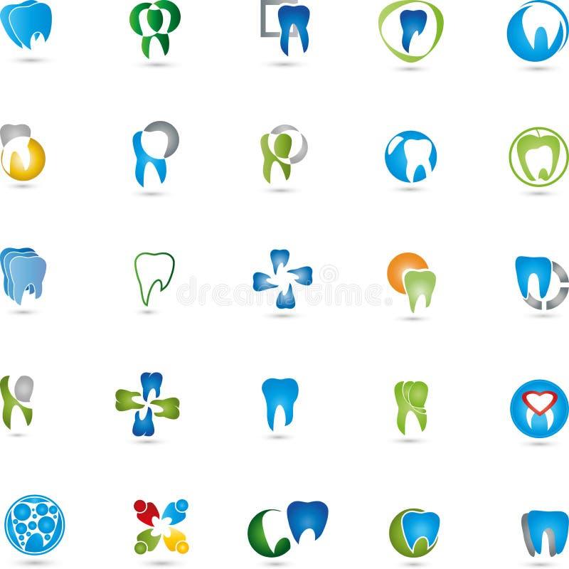 Tänder logosamling som är tand-, tandläkare stock illustrationer
