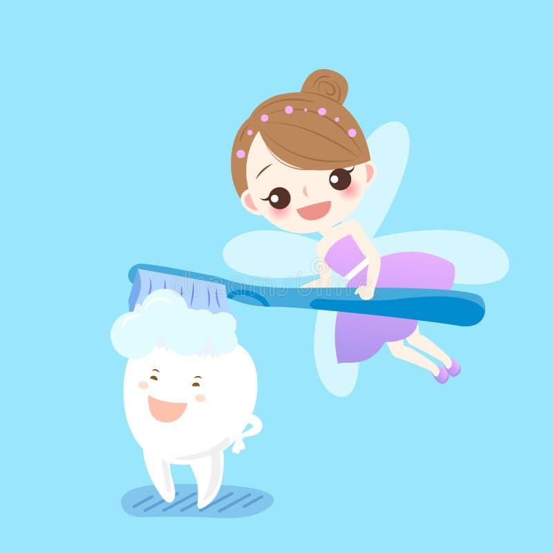 Tänder med tandfen royaltyfri illustrationer