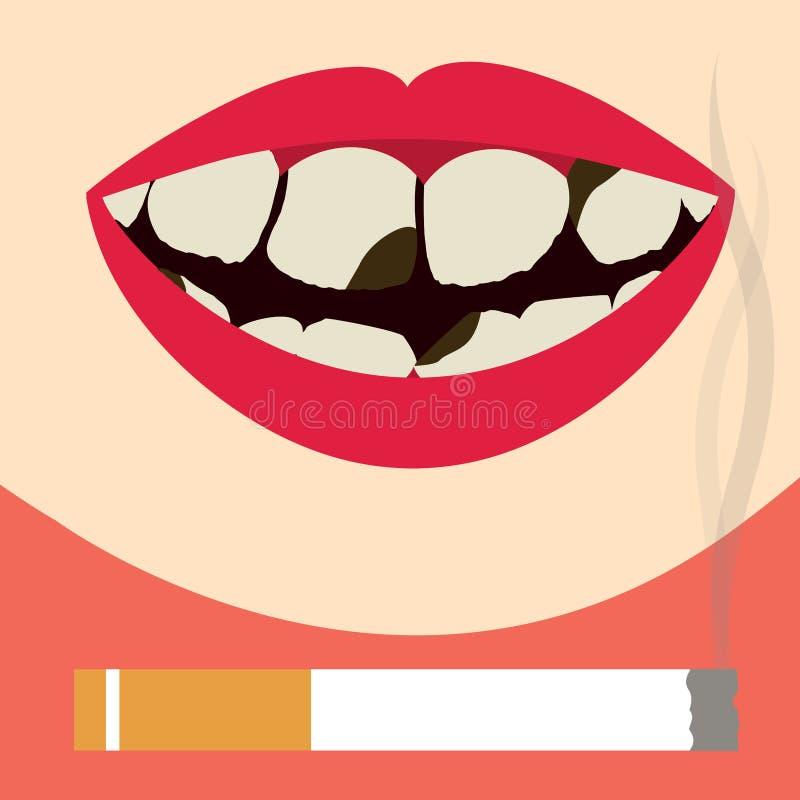 Tänder som är skadade vid cigaretten stock illustrationer