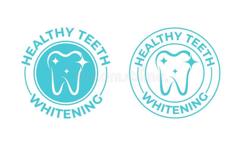 Tänder som gör vit, tandvektorsymbol Sund säker tandblekmedellogo, tandkräm och tand- munvattenpackeetikett royaltyfri illustrationer