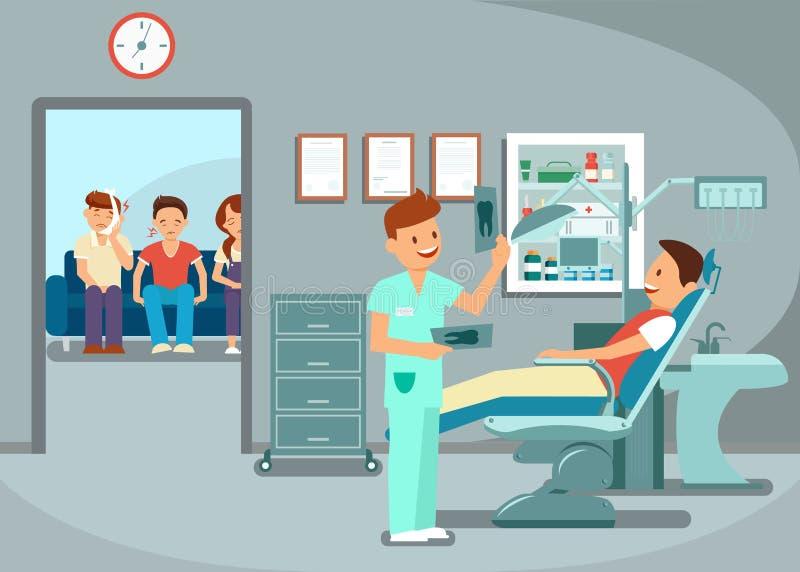 Tänder undersökning, tandläkare Visit Flat Illustration royaltyfri illustrationer