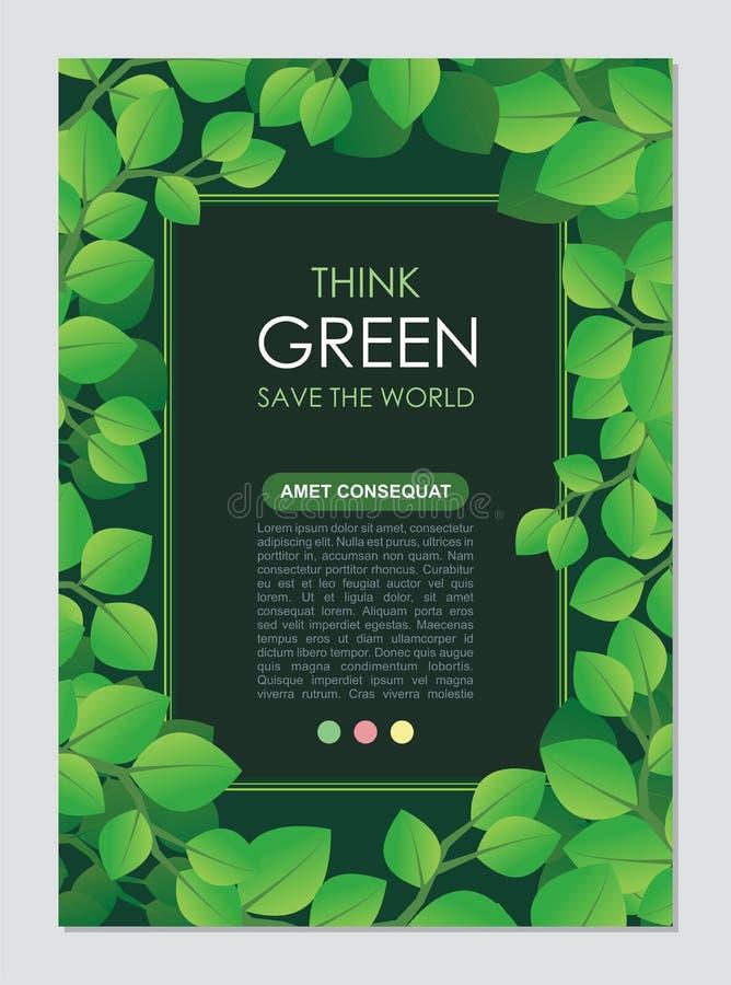 Tänk den gröna ramen och gränsen Går det gröna sidabegreppet royaltyfri illustrationer