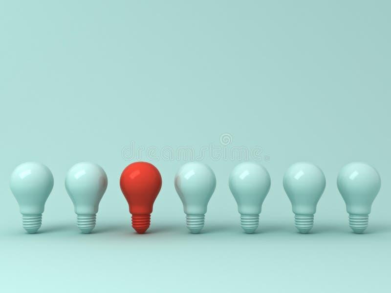 Tänk det olika begreppet, en rött ljuskula som står ut från de gröna glödande lightbulbsna på grön bakgrund för pastellfärgad fär royaltyfri foto