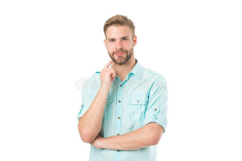 Tänk för att lösa Fundersamma handlag för grabb hans haka Fundersamt lynnebegrepp Tänk om lösning Nästan lösning man arkivfoton