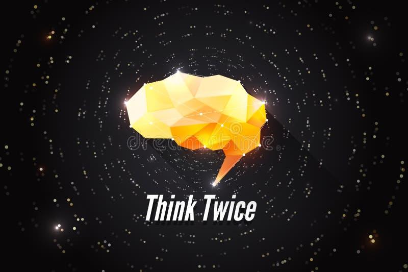 tänk två gånger Idérikt motivationbegrepp av makt för mänsklig hjärna Motivational kläckning av ideerillustration Abstrakt polygo stock illustrationer