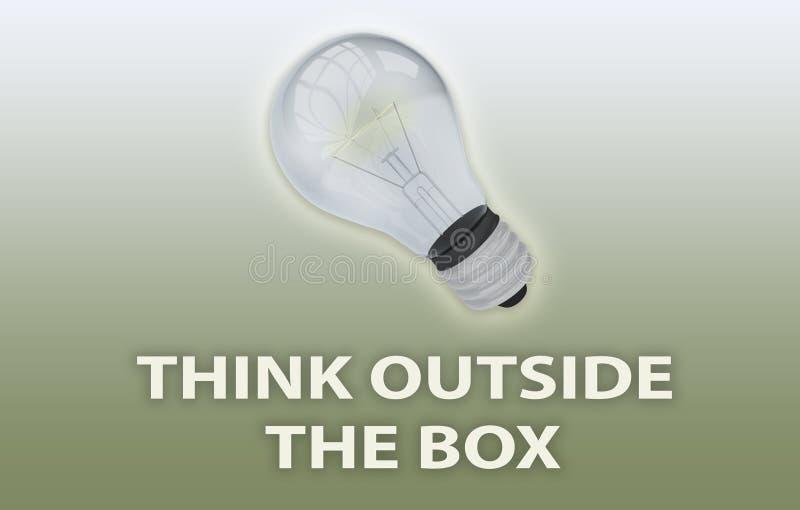 TÄNK UTANFÖR BOX-konceptet royaltyfri illustrationer