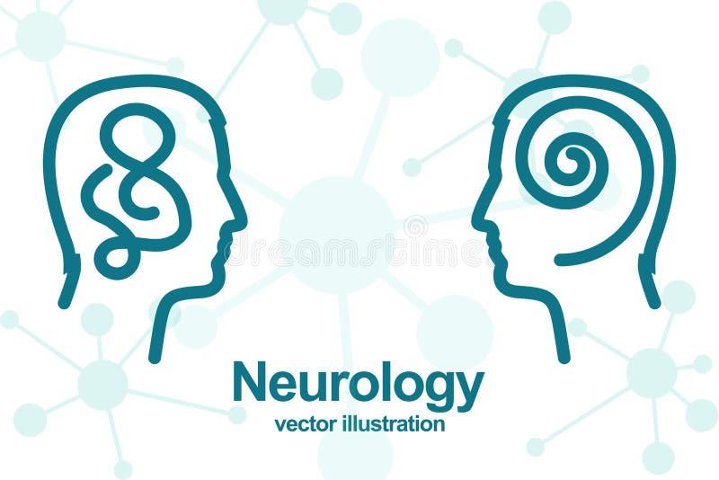 Tänka av två personer Neurologibegrepp vektor illustrationer