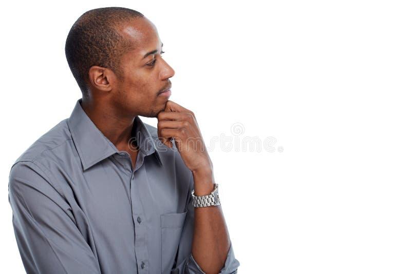 Tänka för afrikansk amerikanman royaltyfria bilder