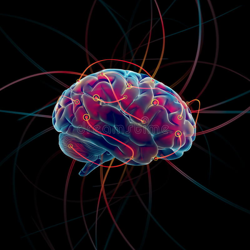 tänka för hjärna royaltyfri illustrationer