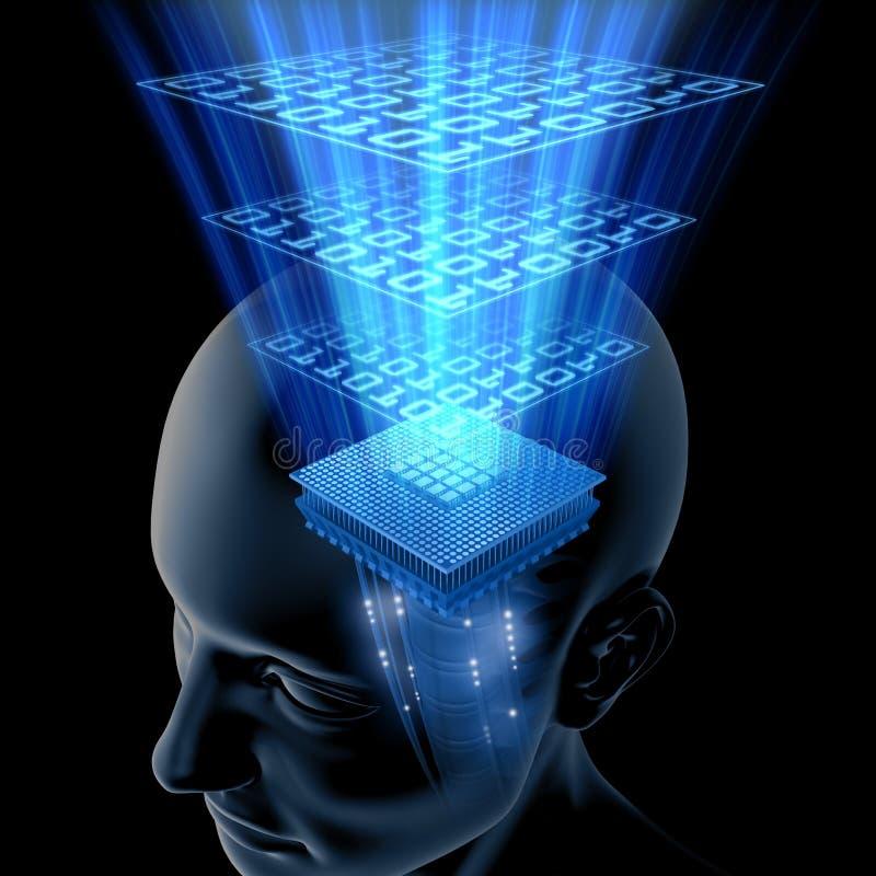 tänka för hjärnCPU royaltyfri illustrationer