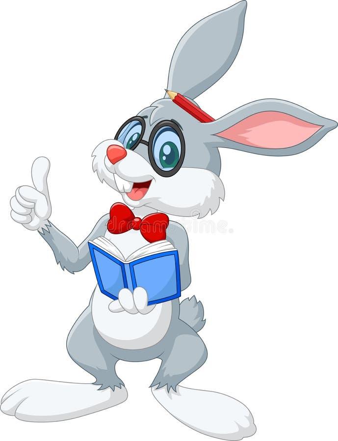 Tänka för kanin för tecknad film som smart isoleras på vit bakgrund vektor illustrationer