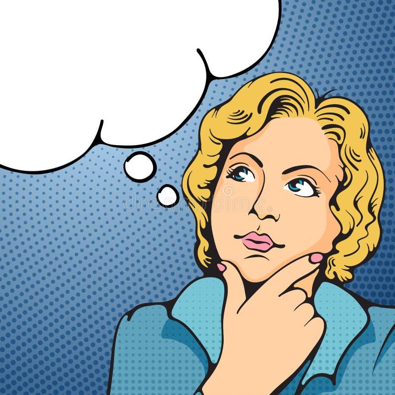 Tänka för kvinna vektor illustrationer