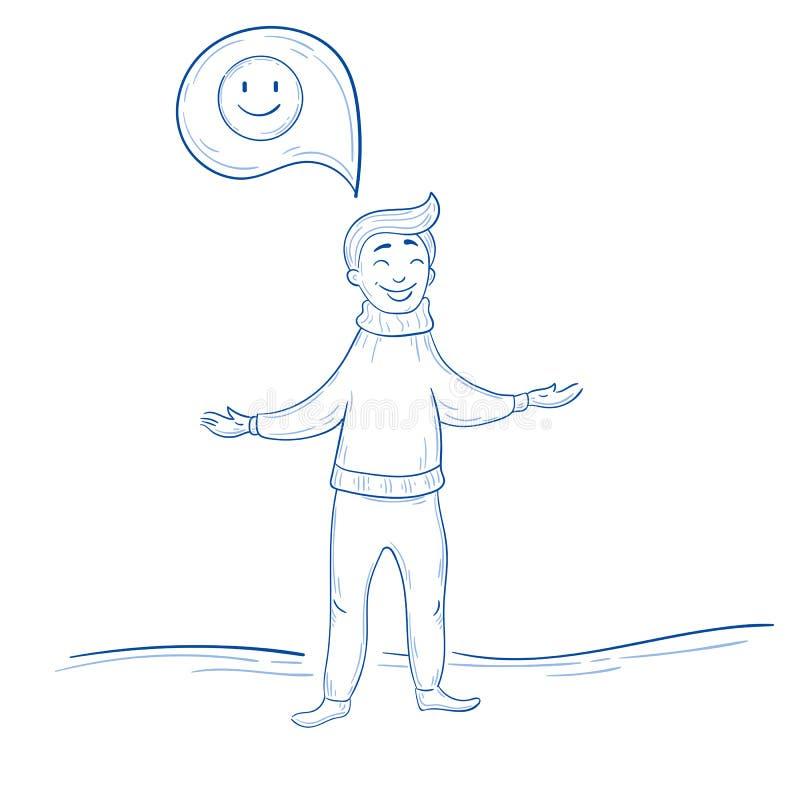 tänka för manpositive Lycklig tanke för leende vektor illustrationer