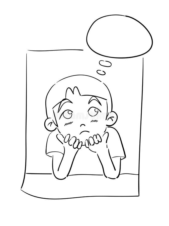 tänka för pojke vektor illustrationer