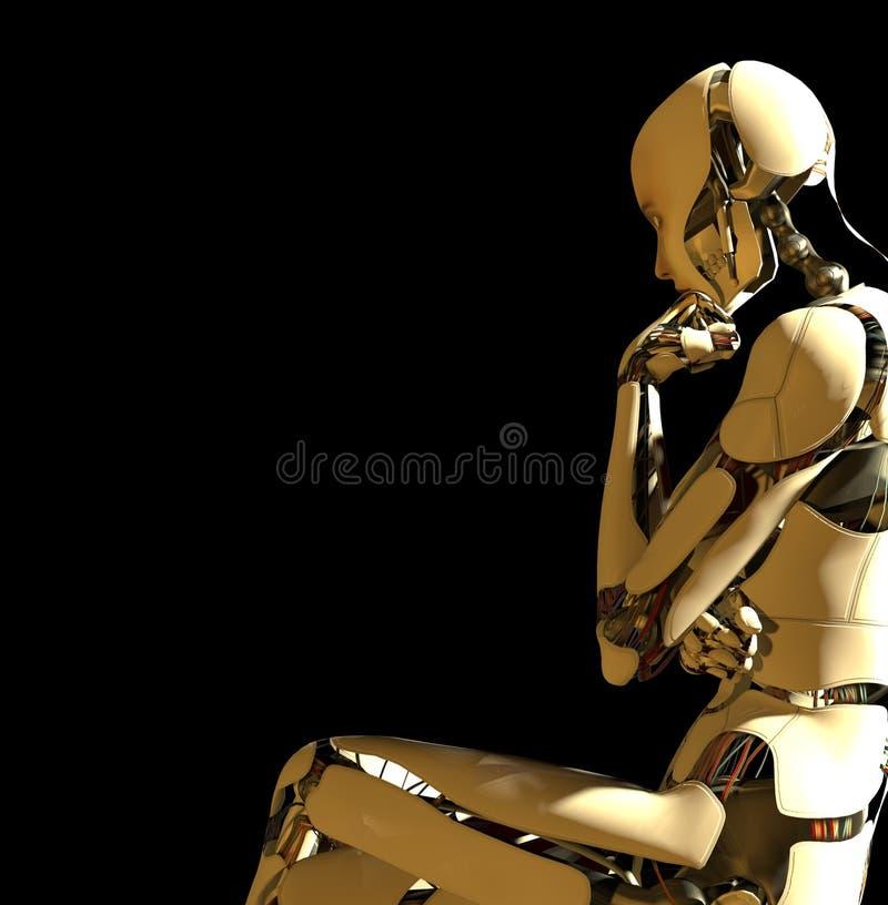 tänka för robot stock illustrationer