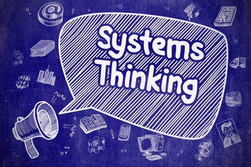 Tänka för system - tecknad filmillustration på den blåa svart tavlan stock illustrationer
