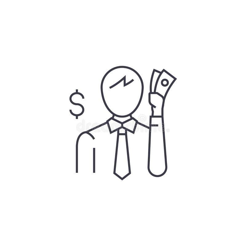 Tänka om pengarvektorlinjen symbol, tecken, illustration på bakgrund, redigerbara slaglängder stock illustrationer