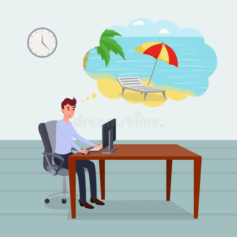 Tänka om plan vektorillustration för ferier Kopplad av kontorsarbetare, projektchef, programmerare, framstickandetecknad film royaltyfri illustrationer