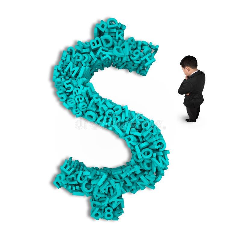 Tänkande affärsmananseende, pengar för dollartecken, stora data för tecken 3d fotografering för bildbyråer