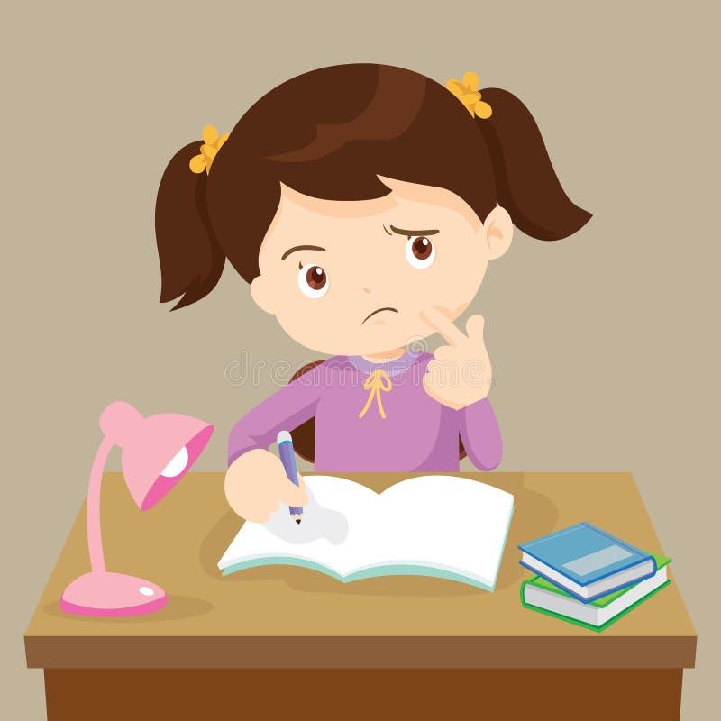 Tänkande arbeta för gullig flicka på läxa royaltyfri illustrationer