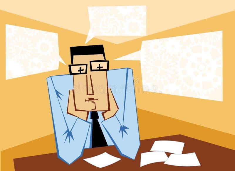 tänkande arbetare för kontor stock illustrationer