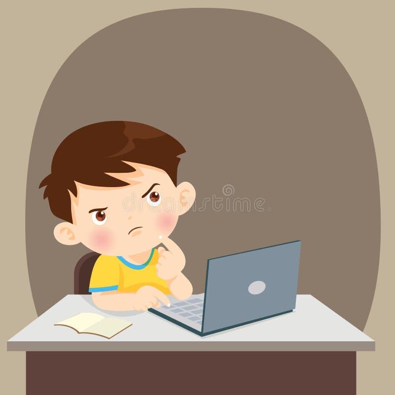 Tänkande barnstudentpojke som tänker med bärbara datorn vektor illustrationer