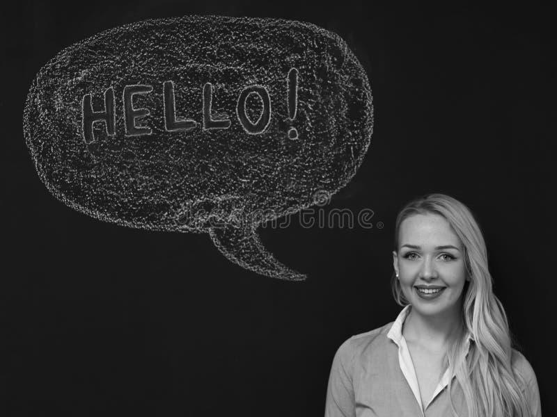 Tänkande blackboardbegrepp för kvinna Eftertänksam flicka som ser kameran, kvinna som säger Hello royaltyfri bild