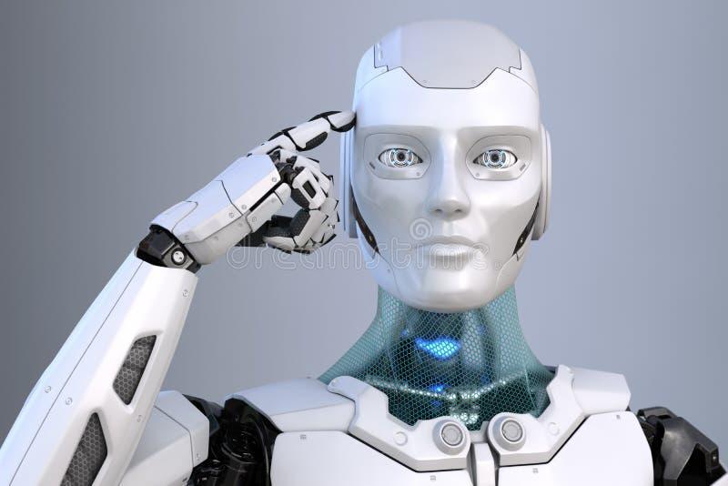 Tänkande cyborg Roboten rymmer ett finger nära huvudet royaltyfri illustrationer